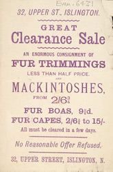 Advertisement for a Clearance Sale of fur trimmings in Islington
